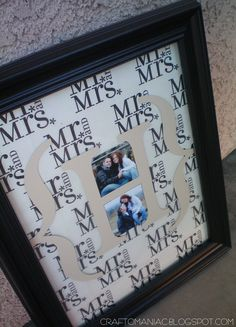 """Sat. a cousin of mine on my dads side is getting """"HITCHED"""" P.S. love that movie! and I had to make something special. I love a thoughtful handmade personal gift. SO I made a Monogrammed Frame!  Supplies- Tissue paper, paper, or fabric. (your choice) I LOVED the Mr. and Mrs. tissue paper I found …"""