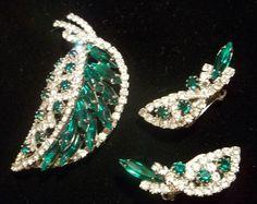 Vintage Hobe Rhinestone Leaf Brooch Earring Set Juliana Amazing Sparkle | eBay