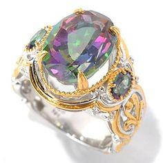 Gems en Vogue II 7.54ctw Oval Mystic Topaz Three-Stone Ring