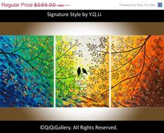 "Original 54"" Large Abstract Painting Landscape and Scenic Painting Palette Knife Impasto Tree Painting Love Birds Painting ""Twilight"" $431.63 CDN"