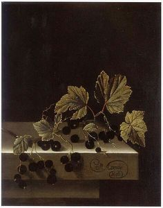 Adriaen Coorte (fl. 1683–1707) . Black Currants  Date1698Mediumoil on paper mounted on panelDimensions29.5 x 22.7 cmCurrent locationPrivate collectionInscriptionsA Coorte/ 1698