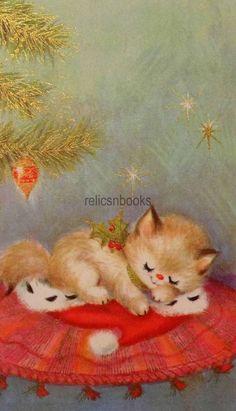 #1430 60s Sweet Sleeping Kitty Cat-Vintage Christmas Card-Greeting