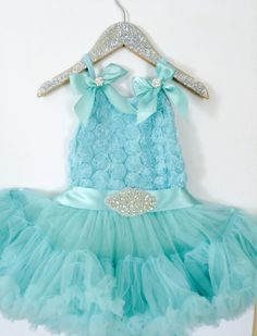 TuTu Tiffany's Girl Inspired Chiffon Tiffany Blue Full & Fluffy Petti Dress. First Birthday. Birthday Girl.Wedding. Flower Girl. Photo Shoot