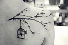 What does birdcage tattoo mean? We have birdcage tattoo ideas, designs, symbolism and we explain the meaning behind the tattoo. Tattoo Son, Get A Tattoo, Tattoo Bird, Bird Cage Tattoos, Fall Tattoo, Tree Branch Tattoo, Tattoo 2016, Photography Tattoo, White Photography