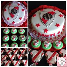 Napell Pasteleria: River Plate Sport Cakes, Cake & Co, Ideas Para Fiestas, Cake Pops, Fondant, Baby Shower, Plates, Holiday Decor, Birthday