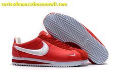 wholesale dealer 147de ca25c Kopen Nike Classic Cortez Nylon Damesschoenen Borduurwerk Rood Wit