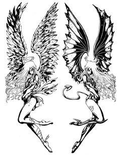 angel & demon tattoos - Bing Images
