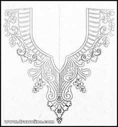 Neck designs pencil sketches for embroidery designs/kurti Neck design patterns for hand works - Draw online Hand Embroidery Design Patterns, Embroidery Motifs, Embroidery Fashion, Beaded Embroidery, Machine Embroidery Designs, Neck Drawing, Corset Sewing Pattern, Hand Work Blouse Design, Kurti Neck Designs