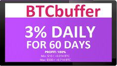 BTCBUFFER investment REVIEW Bitcoin FORUM HYIP Start: 16.11.21 Features: - Language: ENG - Accept: BitCoin [BTC] - Payments: Instant - Referral plan: 3% - Fee for withdrawal: No - Minimum deposit: 0.014 BTC  - Minimum withdrawal: 0.0001 BTC - Return deposit: No included in payment  Invest plans: - 3.00% Daily For 60 days [ Total 180% ] - 5.00% Daily For 60 days [ Total 300% ] - 7.00% Daily For 60 days [ Total 420% ]
