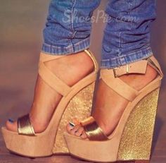 Perfect Contrast Colour PU Wedge Heel Sandals