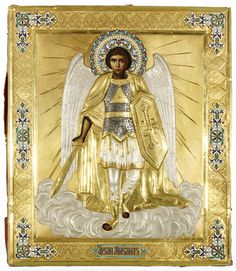 """A RUSSIAN ICON OF ARCHANGEL MICHAEL WITH A SILVER GILT OKLAD AND CLOISONNÉ ENAMEL, MAKER'S MARK """"SKZ"""", CIRCA 1899-1908, EGG TEMPERA AND GESSO ON WOOD PANEL, THE GILDED SILVER OKLAD WITH CHASED AND REPOUSSE IMAGE OF THE STRIDING ANGEL AMID CLOUDS, THE APPLIED AND SPANDELS DECORATED IN POLYCHROME CLOISONNE ENAMEL"""