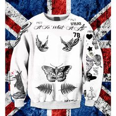 Larry Stylinson Harry Styles Louis Tomlinson Updated Tattoo Sweatshirt... ($27) ❤ liked on Polyvore