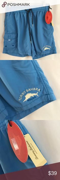 """NWT Tommy Bahama szS """"Happy Go Cargo"""" swim trunks NWT Tommy Bahama szS """"Happy Go Cargo"""" swim trunks in yoga blue..6"""" inseam...last pict for fit only...color is what is seen in first Picts... Tommy Bahama Swim Swim Trunks"""