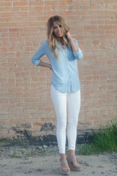 White pants & chambray top