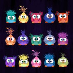 Hatchlings illustrations from The Angry Birds Movie credit scroll (based on character designs by Francesca Natale) Bird Drawings, Doodle Drawings, Cartoon Drawings, Easy Drawings, Doodle Art, Angry Birds Characters, Art Fantaisiste, Cartoon Birds, Happy Paintings