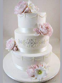 Embellished Peony Wedding Cake