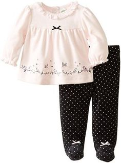 Little Me Baby-Girls Newborn Lovebird Velour Pant Set, Black Multi, 3 Months Baby Girl Fashion, Toddler Fashion, Toddler Outfits, Baby Boy Outfits, Kids Outfits, Baby Girl Pants, Cute Baby Girl, Baby Girl Newborn, Baby Girls