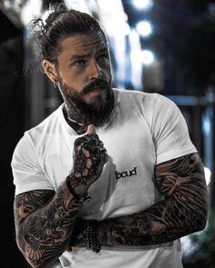 Sexy Tattooed Men, Bearded Tattooed Men, Bearded Men, Bearded Iris, Bearded Dragon, Beard Styles For Men, Hair And Beard Styles, Long Hair Styles, Long Hair Beard