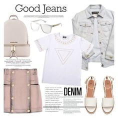 """""""Double Down on Denim"""" by wigicollection ❤ liked on Polyvore featuring Michael Kors, Balmain, Versace, Denimondenim, contestentry, wigicollection, wigier and wigimoda"""