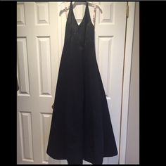 """""""Black Tie"""" Full Length Black Dress worn to black tie affair. would be great for prom. material underneath to make for slight poof, along with halter top. De Laru by Sheila Yen Dresses Prom"""