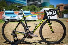 The Tinkoff-Saxo bikes are the 2015 Tarmac by Specialized with a mix of Shimano Dura-Ace, Roval Wheels (by Specialized) and FSA. This is one of the teams rumoured to be on FSA's electronic groupset sometime during the 2015 season.