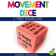 This movement dice is perfect for giving your students a Brain Break in the classroom. This can be used as a whole group or given to individual students that may need a break throughout the day.