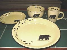 Lodge Bear and Tracks Rustic Dinnerware 16 pc. Service For 4 & rustic dinnerware sets clearance | ... » Rustic Cabin u0026 Lodge ...