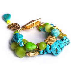 N°145 Cilantro & Turquoise Inclusion Statement Bracelet $199 free global shipping& returns. The pastel shades of turquoise have endeared it to many great cultures of antiquity; it has adorned the rulers of Ancient Egypt, thee Aztecs, Persia, … and finally it found its way into this triple strand statement bracelet – together with the lime green hues of fresh Cilantro!  #arm candy, #statement jewellery,#semi-precious stones, #designer jewellery, #bespoke jewellery, #wholesale jewellery
