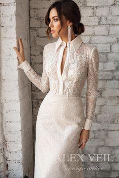 Wedding dress 'SHARON' / Luxurious but modest lace wedding dress, column silhouette, long sleeves I Dress, Lace Dress, White Dress, Bridal Dresses, Wedding Gowns, Lace Wedding, Mermaid Wedding, Dream Wedding, Chiffon Rock