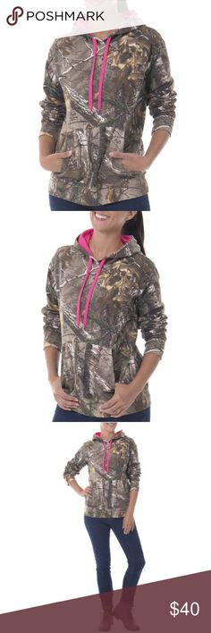 💜Camo Hoodie💜 NEW Camo Fleece Pullover Hoodie. It makes a smart addition to any basic wardrobe. Made from a cotton poly blend, this pullover hoodie will keep you warm and toasty during the colder months of the year. Wear it for hunting, exploring or just hanging out at home Camouflage Sweaters