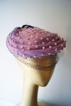 Lilac netting with white chenile dots over pink woven straw Easter Bonnet ~ velvet string bow at back. Vintage Dresses, Vintage Outfits, Vintage Fashion, Fashion Edgy, Fashion Fall, 1930s Fashion, Vintage Couture, Victorian Fashion, 1950s Hats