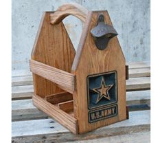 U.S. Army Wooden Beer Tote -  Beer Carrier - Six Pack Home Brew Caddy - Valentine gift - Man cave, $55.0