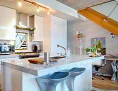 How Thick Are Granite Countertops Contemporary Style for Kitchen with White Tulips by Andrew Snow Photography in Toronto
