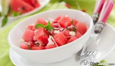 Watermelon Salad with Tomato and Feta - This unusual combination makes a surprisingly delicious dish!