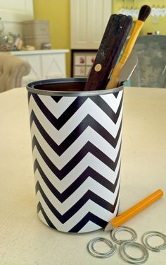 Upcycled Wrapped Chevron Paper Can - for Candle / Pencil Holder, Vase