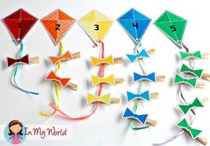 FREE Spring Preschool Centers Kites and bows counting activity