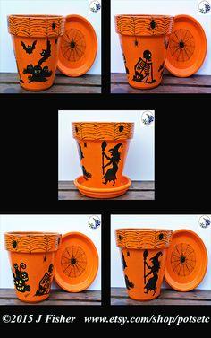 Halloween Silhouette, Hand-Painted Flower Pot, Terra Cotta Planter, 6 Inch…