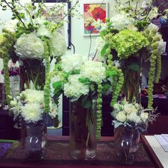 Vintage, woodland, outdoor wedding centerpieces by Cathy Parker and Regan Beaudry.