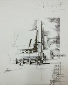ruled perspective with loose close hatching Architecture Concept Drawings, Architecture Graphics, Architecture Plan, Sketch Painting, Drawing Sketches, Sketching, Conceptual Drawing, Interior Sketch, Sketch Design