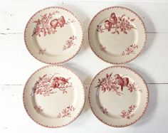 Faience Red  Transferware Dinner plates made by Sarreguemines - France ,  pattern  Favori  via Etsy