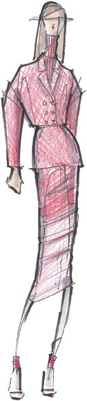 Peter Som with pink flambé for Fall 2012. Can imagine this in a rich wool...oooh.