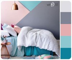 24c5174313ab0f2e4fd7f80e55d3016c Bedroom Wall Designs, Home Decor Bedroom, Bedroom Color Schemes, Bedroom Colors, Girl Room, Girls Bedroom, Trendy Bedroom, Pastel Room, Kids Room Paint