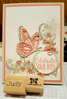 """Stampin Up Card Kit Set Of 4 /""""Happy Birthday"""" Pink Die Cut Butterfly"""