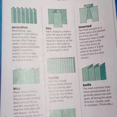 Types of pleats...