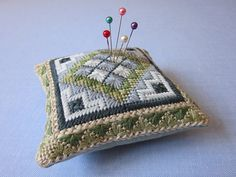 Needlepoint Pattern for Blue Eyelet Pincushion by Lynlubell. , via Etsy.