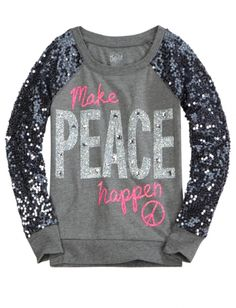 Sequin Sleeve Knit Sweatshirt   Girls Long Sleeve Tops & Tees   Shop Justice