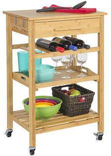 Rolling Wood Kitchen Storage Cart Rack w/ Drawer & Shelves Home Furniture