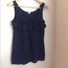 J. Crew Navy Slub Knit Tank Adorable ruffled slub knit tank from J. Crew. Lightweight with delicate straps. Perfect for layering as the weather changes - pair with a cozy sweater and some knee high boots! J. Crew Tops Tank Tops