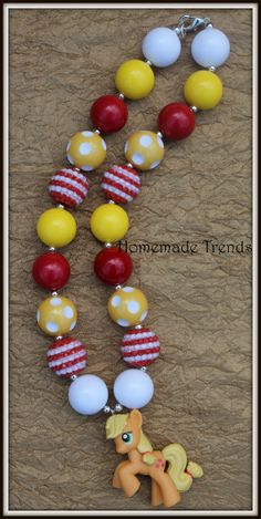 Applejack Bubblegum Bead Necklace by HomemadeTrends on Etsy, $19.00