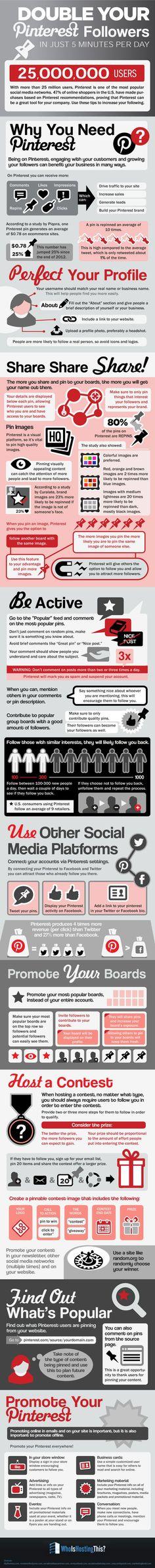 #infografik Tipps & Tricks: Wie man seine #Pinterest Follower verdoppelt – in fünf Minuten am Tag | Kroker's Look @ IT